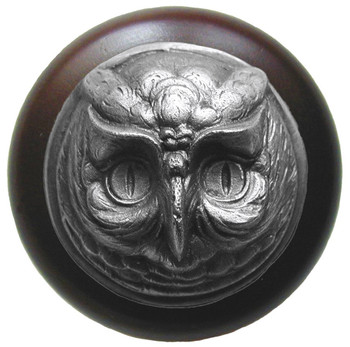 "Notting Hill, Wise Owl, 1 1/2"" Round Wood Knob, in Antique Pewter with Dark Walnut wood finish"
