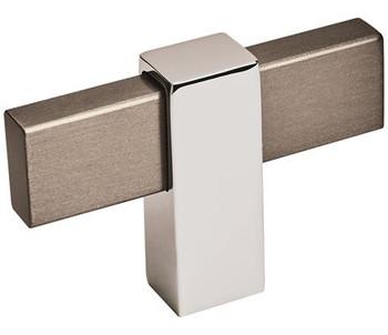 "Amerock, Mulino, 2 3/8"" Length Pull Knob, Black Brushed Nickel/Polished Chrome"
