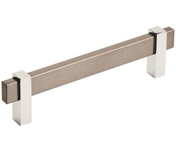 "Amerock, Mulino, 5 1/16"" (128mm) Bar Pull, Black Brushed Nickel/Polished Chrome"