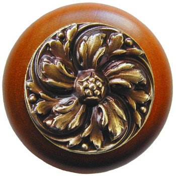 "Notting Hill, Classic, Chrysanthemum, 1 1/2"" Round Wood Knob, Antique Brass with Cherry Wood Finish"