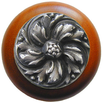 "Notting Hill, Classic, Chrysanthemum, 1 1/2"" Round Wood Knob, Antique Pewter with Cherry Wood Finish"