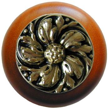 "Notting Hill, Chrysanthemum, 1 1/2"" Round Wood Knob, in Brite Brass with Cherry wood finish"