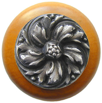 "Notting Hill, Chrysanthemum, 1 1/2"" Round Wood Knob, in Antique Pewter with Maple wood finish"