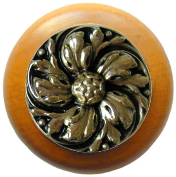 "Notting Hill, Classic, Chrysanthemum, 1 1/2"" Round Wood Knob, Brite Brass with Maple Wood Finish"