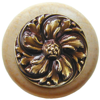 "Notting Hill, Classic, Chrysanthemum, 1 1/2"" Round Wood Knob, Antique Brass with Natural Wood Finish"