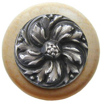 "Notting Hill, Chrysanthemum, 1 1/2"" Round Wood Knob, in Antique Pewter with Natural wood finish"
