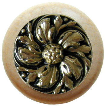 "Notting Hill, Classic, Chrysanthemum, 1 1/2"" Round Wood Knob, Brite Brass with Natural Wood Finish"
