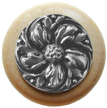 "Notting Hill, Chrysanthemum, 1 1/2"" Round Wood Knob, in Satin Nickel with Natural wood finish"