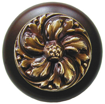 "Notting Hill, Chrysanthemum, 1 1/2"" Round Wood Knob, in Antique Brass with Dark Walnut wood finish"