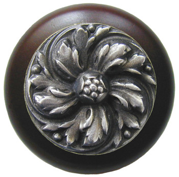 "Notting Hill, Classic, Chrysanthemum, 1 1/2"" Round Wood Knob, Antique Pewter with Dark Walnut Wood Finish"