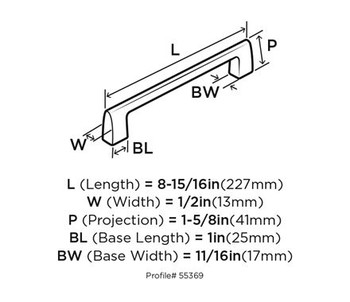 """Amerock, Riva, 8"""" Appliance pull - technical drawing - top"""