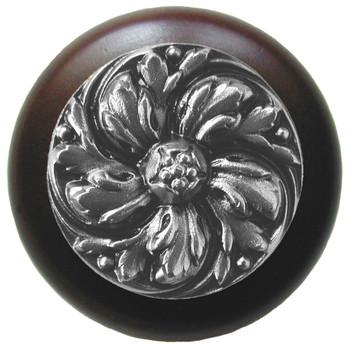 "Notting Hill, Chrysanthemum, 1 1/2"" Round Wood Knob, in Satin Nickel with Dark Walnut wood finish"