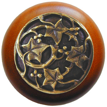 "Notting Hill, Ivy with Berries, 1 1/2"" Round Wood Knob, in Antique Brass with Cherry wood finish"