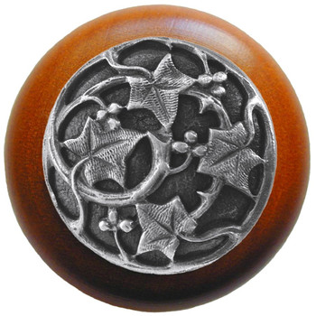 "Notting Hill, Ivy with Berries, 1 1/2"" Round Wood Knob, in Antique Pewter with Cherry wood finish"
