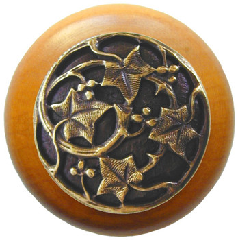"Notting Hill, Ivy with Berries, 1 1/2"" Round Wood Knob, in Antique Brass with Maple wood finish"