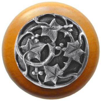 "Notting Hill, Ivy with Berries, 1 1/2"" Round Wood Knob, in Antique Pewter with Maple wood finish"