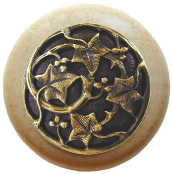 "Notting Hill, Ivy with Berries, 1 1/2"" Round Wood Knob, in Antique Brass with Natural wood finish"