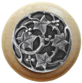 "Notting Hill, Ivy with Berries, 1 1/2"" Round Wood Knob, in Antique Pewter with Natural wood finish"