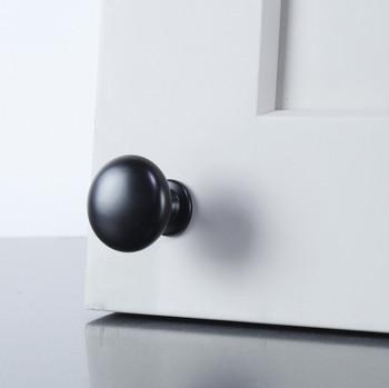 """Century, Matte Black, 1 3/16"""" (29.5mm) Round Knob, Matte Black - installed"""