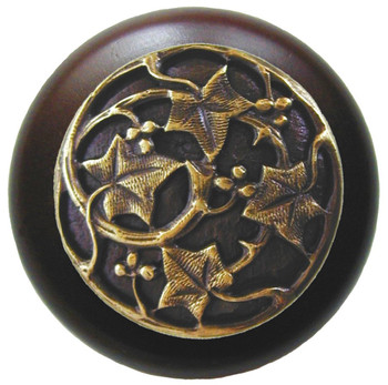 "Notting Hill, Ivy with Berries, 1 1/2"" Round Wood Knob, in Antique Brass with Dark Walnut wood finish"