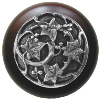 "Notting Hill, Ivy with Berries, 1 1/2"" Round Wood Knob, in Antique Pewter with Dark Walnut wood finish"