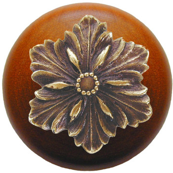 """Notting Hill, Opulent Flower Wood, 1 1/2"""" Round Knob, in Antique Brass with Cherry Wood"""