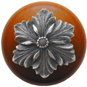 "Notting Hill, Opulent Flower Wood, 1 1/2"" Round Knob, in Antique Pewter with Cherry Wood"