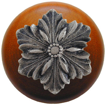 "Notting Hill, Opulent Flower Wood, 1 1/2"" Round Knob, in Satin Nickel with Cherry Wood"