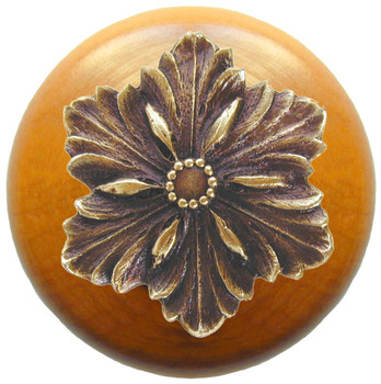 "Notting Hill, Classic, Opulent Flower Wood, 1 1/2"" Round Knob, Antique Brass with Maple Wood"