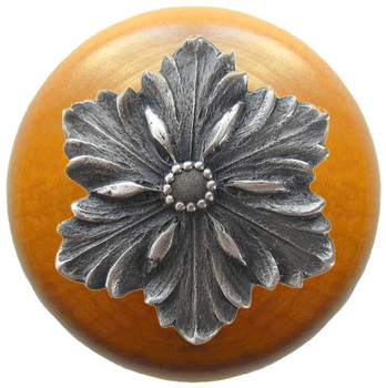 "Notting Hill, Opulent Flower Wood, 1 1/2"" Round Knob, in Antique Pewter with Maple Wood"
