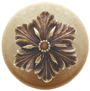 "Notting Hill, Opulent Flower Wood, 1 1/2"" Round Knob, in Antique Brass with Natural Wood"