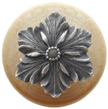 "Notting Hill, Opulent Flower Wood, 1 1/2"" Round Knob, in Antique Pewter with Natural Wood"
