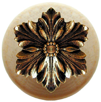 "Notting Hill, Opulent Flower Wood, 1 1/2"" Round Knob, in Brite Brass with Natural Wood"