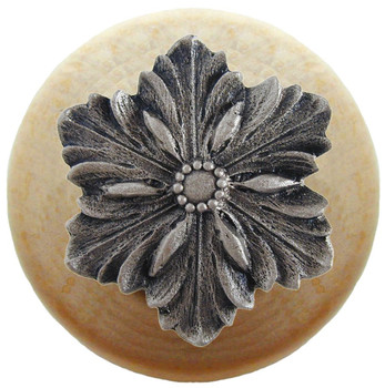 "Notting Hill, Opulent Flower Wood, 1 1/2"" Round Knob, in Satin Nickel with Natural Wood"