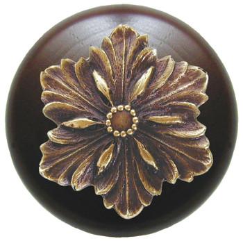 """Notting Hill, Opulent Flower Wood, 1 1/2"""" Round Knob, in Antique Brass with Dark Walnut Wood"""