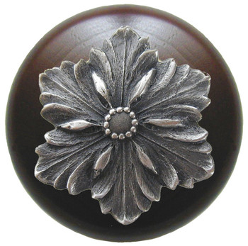 "Notting Hill, Opulent Flower Wood, 1 1/2"" Round Knob, in Antique Pewter with Dark Walnut Wood"