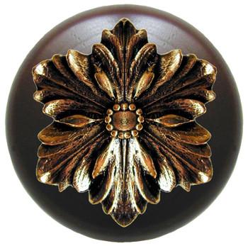 """Notting Hill, Opulent Flower Wood, 1 1/2"""" Round Knob, in Brite Brass with Dark Walnut Wood"""