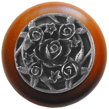 "Notting Hill, Saratoga Rose, 1 1/2"" Round Wood Knob, in Antique Pewter with Cherry wood finish"