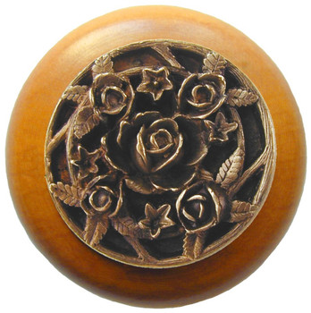 "Notting Hill, Saratoga Rose, 1 1/2"" Round Wood Knob, in Antique Brass with Maple wood finish"