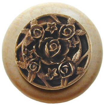 "Notting Hill, Florals and Leaves, Saratoga Rose, 1 1/2"" Round Wood Knob, Antique Brass with Natural Wood Finish"