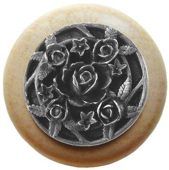 "Notting Hill, Saratoga Rose, 1 1/2"" Round Wood Knob, in Antique Pewter with Natural wood finish"