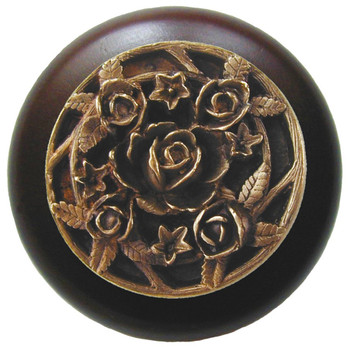 "Notting Hill, Saratoga Rose, 1 1/2"" Round Wood Knob, in Antique Brass with Dark Walnut wood finish"