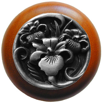 """Notting Hill, River Iris, 1 1/2"""" Round Wood knob, in Antique Pewter with Cherry wood finish"""