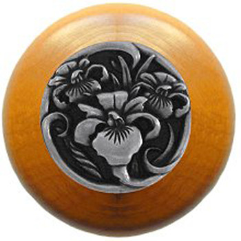 """Notting Hill, River Iris, 1 1/2"""" Round Wood knob, in Brilliant Pewter with Maple wood finish"""