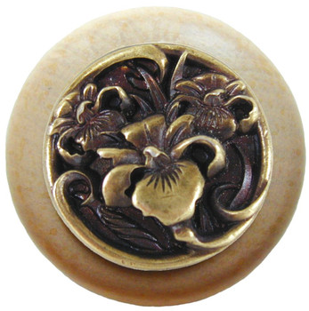 """Notting Hill, River Iris, 1 1/2"""" Round Wood knob, in Antique Brass with Natural wood finish"""