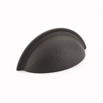 """Schaub and Company, Atherton, 3"""" Hammered, Knurled Edge Cup Pull, Oil Rubbed Bronze"""