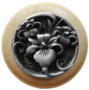 """Notting Hill, Nouveau, River Iris, 1 1/2"""" Round Wood Knob, Antique Pewter with Natural Wood Finish"""