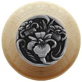 """Notting Hill, River Iris, 1 1/2"""" Round Wood knob, in Brilliant Pewter with Natural wood finish"""