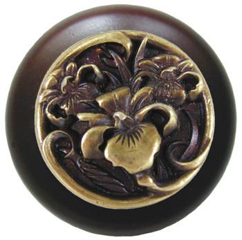"Notting Hill, River Iris, 1 1/2"" Round Wood knob, in Antique Brass with Dark Walnut wood finish"
