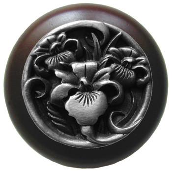 "Notting Hill, Nouveau, River Iris, 1 1/2"" Round Wood Knob, Antique Pewter with Dark Walnut Wood Finish"